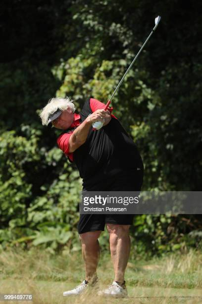 Laura Davies of England plays a tee shot on the eighth hole during the final round of the US Senior Women's Open at Chicago Golf Club on July 15 2018...