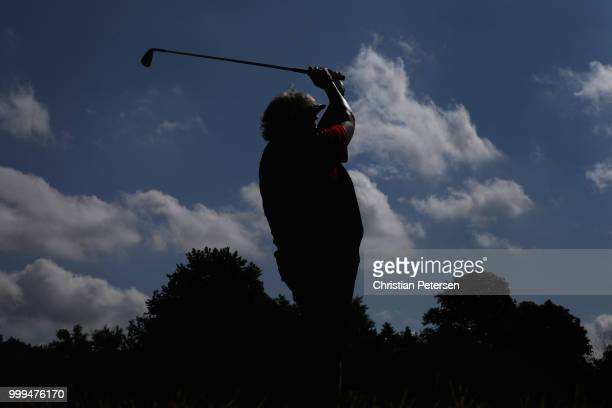 Laura Davies of England plays a tee shot on the third hole during the final round of the US Senior Women's Open at Chicago Golf Club on July 15 2018...