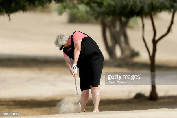 Laura Davies of England plays her second shot on the par 4 14th hole during the third round of the 2017 Dubai Ladies Classic on the Majlis Course at...