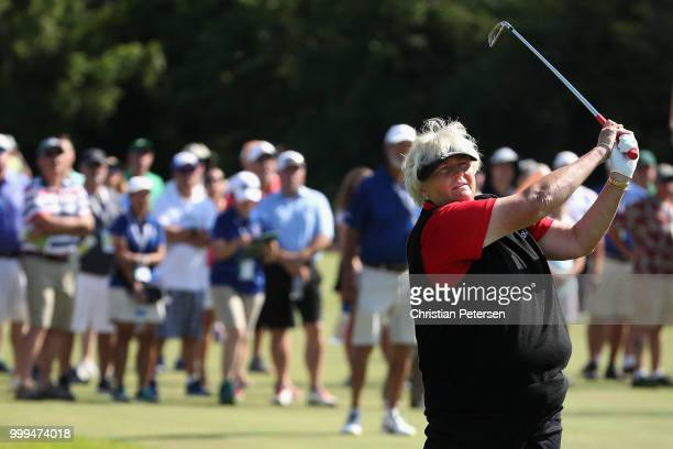 Laura Davies of England plays her second shot on the second hole during the final round of the US Senior Women's Open at Chicago Golf Club on July 15...