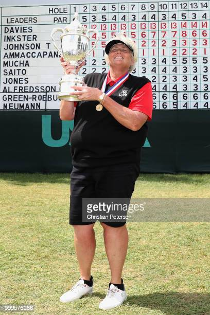 Laura Davies of England poses with the US Senior Women's Open trophy after winning in the final round at Chicago Golf Club on July 15 2018 in Wheaton...