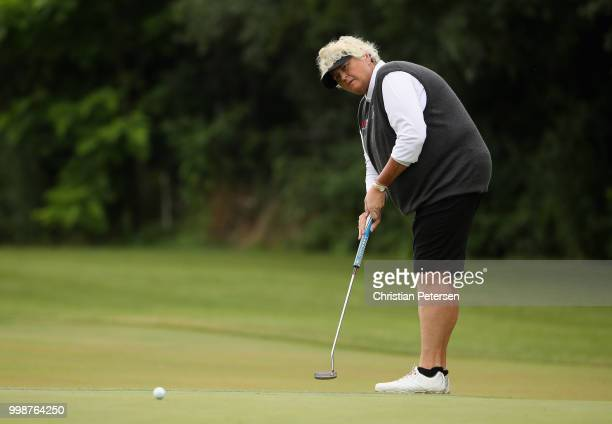 Laura Davies of England putts on the 14th green during the third round of the US Senior Women's Open at Chicago Golf Club on July 14 2018 in Wheaton...
