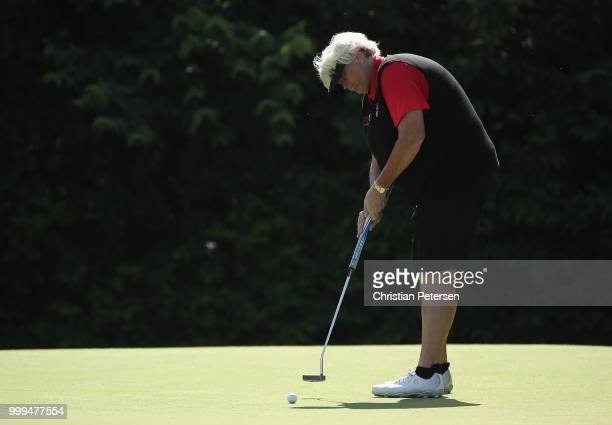 Laura Davies of England putts on the third green during the final round of the US Senior Women's Open at Chicago Golf Club on July 15 2018 in Wheaton...