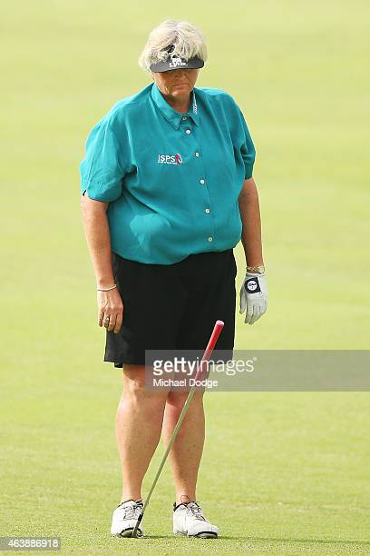 Laura Davies of England reacts after an approach shot on the 6th hole during day two of the LPGA Australian Open at Royal Melbourne Golf Course on...