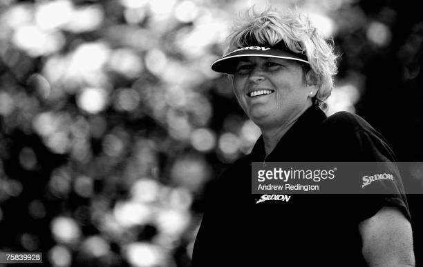 Laura Davies of England smiles as she waits to hit her teeshot on the second hole during the third round of the Evian Masters on July 28 2007 in...