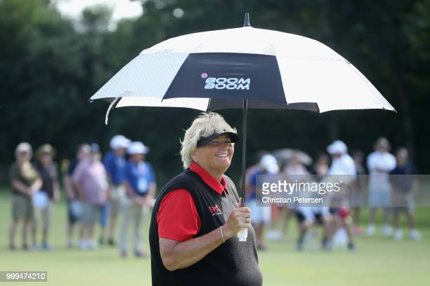 Laura Davies of England stands on the second hole during the final round of the US Senior Women's Open at Chicago Golf Club on July 15 2018 in...