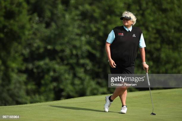 Laura Davies of England stands on the seventh green during the first round of the US Senior Women's Open at Chicago Golf Club on July 12 2018 in...