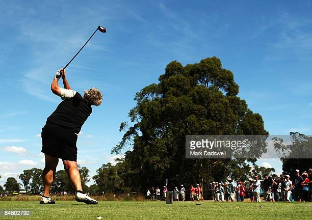 Laura Davies of England tees off on the 12th during day four of the 2009 Women's Australian Open held at the Metropolitan Golf Club February 15 2009...