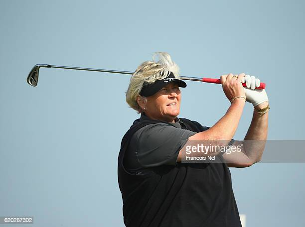 Laura Davies of England tees off on the 18th hole during the first round of the Fatima Bint Mubarak Ladies Open at Saadiyat Beach Golf Club on...