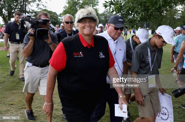 Laura Davies of England walks to the clubhouse after winning the US Senior Women's Open at Chicago Golf Club on July 15 2018 in Wheaton Illinois