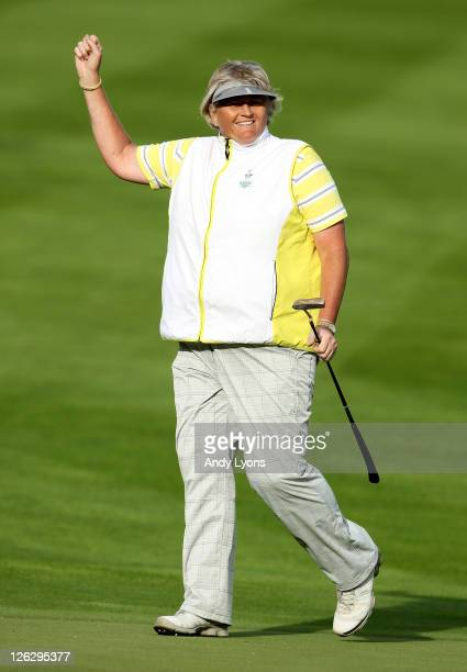 Laura Davies of Europe celebrates victory on the 15th hole during the afternoon fourballs on day two of the 2011 Solheim Cup at Killeen Castle Golf...
