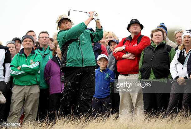 Laura Davies of Europe hits from the rough on the 17th hole during the afternoon fourballs on day one of the 2011 Solheim Cup at Killeen Castle Golf...