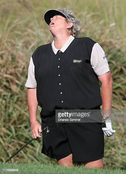 Laura Davies reacts to a shot out of the rough on the 17th hole during the first round of the Ginn Open at Ginn Reunion Resort in Kissimmee Florida...