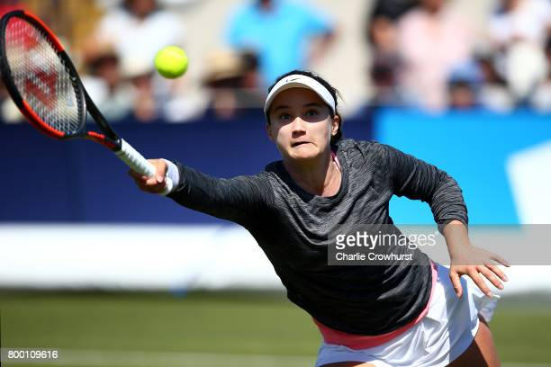 Laura Davis of USA in action during her women's qualifying match against Gabriella Taylor of Great Britain during qualifying on day one of the Aegon...