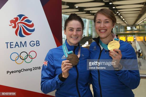 Laura Deas and Lizzy Yarnold of Great Britain pose with their skeleton bronze and gold medals during the Team GB Homecoming from the Winter Olympics...
