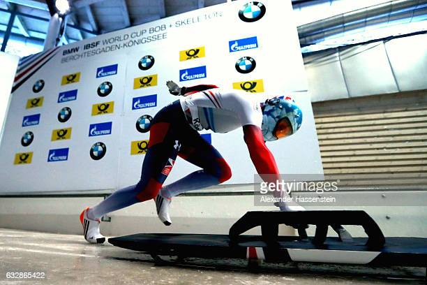 Laura Deas of Great Britain competes during the Women's Skeleton first run of the BMW IBSF World Cup at Deutsche Post Eisarena Koenigssee on January...