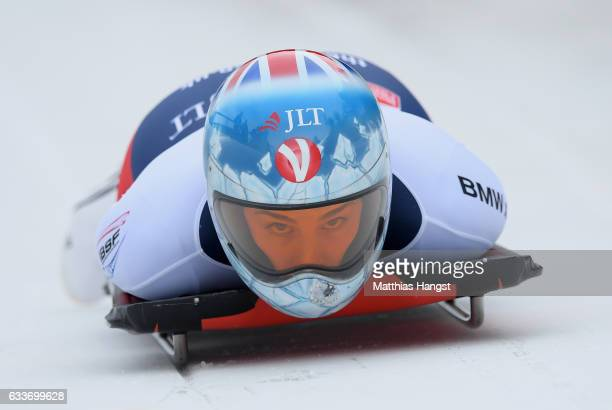 Laura Deas of Great Britain competes during the Women's Skeleton first run of the BMW IBSF World Cup at Olympiabobbahn Igls on February 3 2017 in...