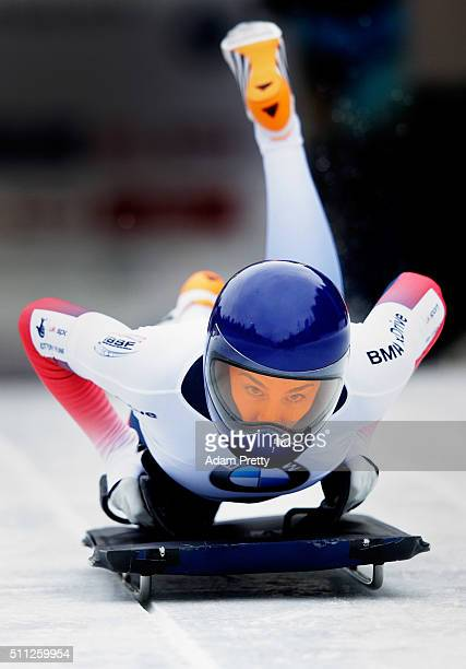 Laura Deas of Great Britain completes her first run of the Women's Skeleton during Day 5 of the IBSF World Championships 2016 at Olympiabobbahn Igls...
