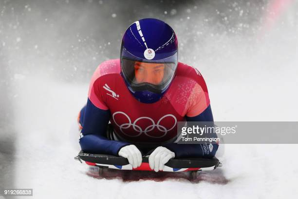 Laura Deas of Great Britain finishes her final run during the Women's Skeleton on day eight of the PyeongChang 2018 Winter Olympic Games at Olympic...
