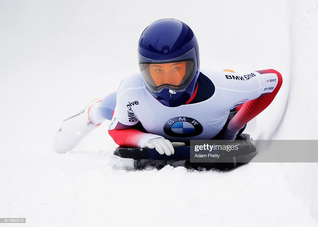 Laura Deas of Great Britain finishes in eleventh place in the Women's Skeleton on day 6 of the 2016 IBSF World Championships at Olympiabobbahn Igls on February 20, 2016 in Innsbruck, Austria.