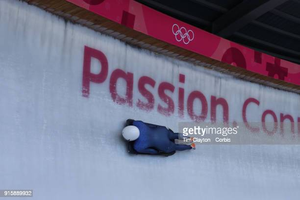 Laura Deas of Great Britain in action during a Women's Skeleton training run ahead of the PyeongChang 2018 Winter Olympic Games at Olympic Sliding...