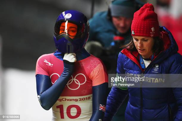 Laura Deas of Great Britain looks on as she finishes her final run during the Women's Skeleton on day eight of the PyeongChang 2018 Winter Olympic...