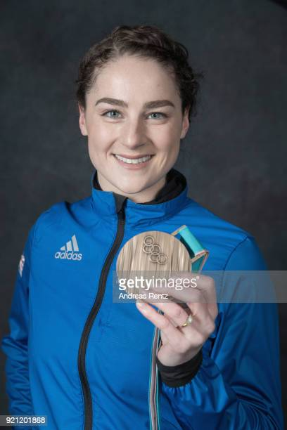 Laura Deas of Great Britain poses with her skeleton bronze medal for a briefly portrait on day eleven of the PyeongChang 2018 Winter Olympic Games on...