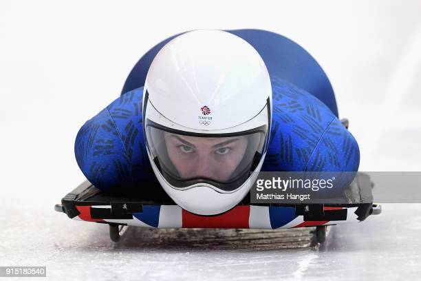 Laura Deas of Great Britain practices during Women's Skeleton training ahead of the PyeongChang 2018 Winter Olympic Games at the Olympic Sliding...