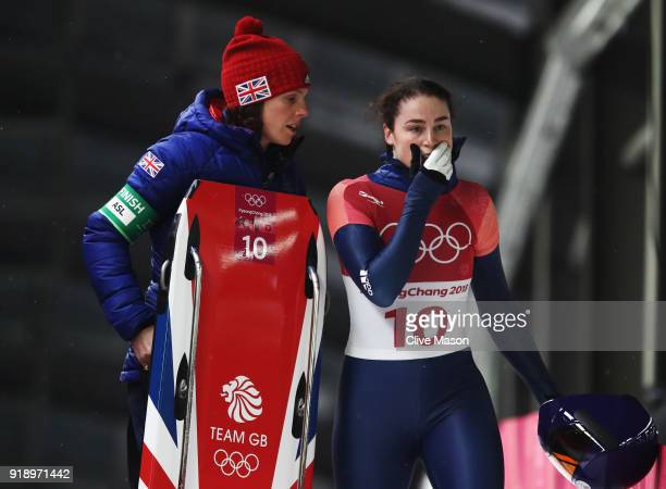 Laura Deas of Great Britain reacts after sliding during the Women's Skeleton heat two at Olympic Sliding Centre on February 16 2018 in Pyeongchanggun...