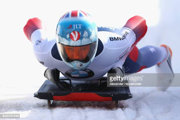 Laura Deas of Great Britain reacts after the final run of the IBSF World Championships Bob Skeleton 2017 at Deutsche Post Eisarena Koenigssee on...