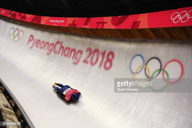 Laura Deas of Great Britain slides during the Women's Skeleton at Olympic Sliding Centre on February 16 2018 in Pyeongchanggun South Korea