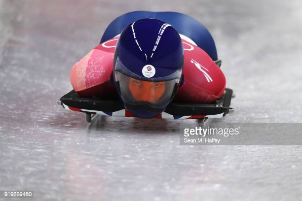 Laura Deas of Great Britain slides during the Women's Skeleton final run on day eight of the PyeongChang 2018 Winter Olympic Games at Olympic Sliding...