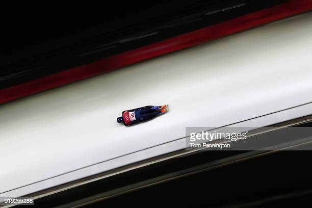 Laura Deas of Great Britain slides during the Women's Skeleton heat three on day eight of the PyeongChang 2018 Winter Olympic Games at Olympic...