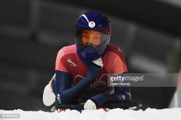Laura Deas of Great Britain slides into the finish area during the Women's Skeleton heat one at Olympic Sliding Centre on February 16 2018 in...