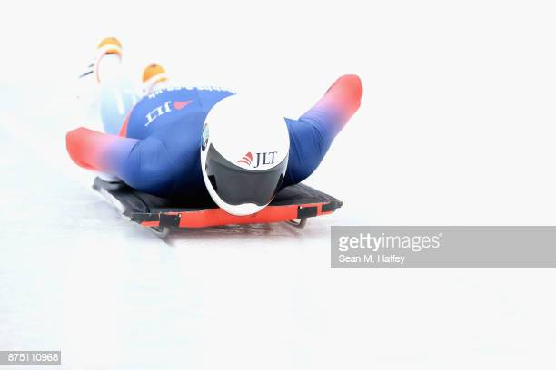 Laura Deas of Great Britain takes a training run in the Women's Skeleton during the BMW IBSF Bobsleigh + Skeleton World Cup at Utah Olympic Park...