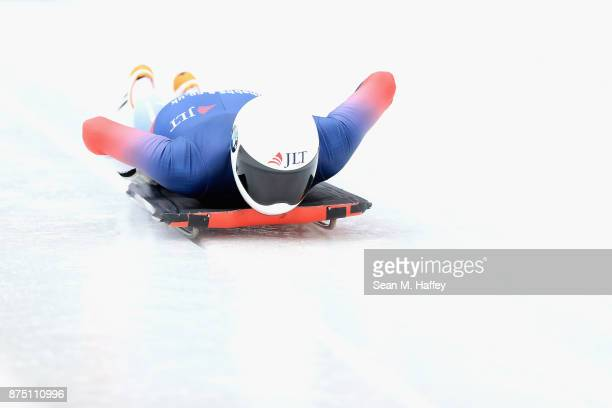 Laura Deas of Great Britain takes a training run in the Women's Skeleton during the BMW IBSF Bobsleigh Skeleton World Cup at Utah Olympic Park...