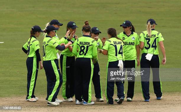 Laura Delany of Ireland celebrates a wicket during the ICC Women's World T20 2018 match between India and Ireland at Guyana National Stadium on...