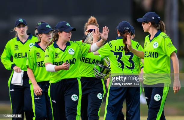 Laura Delany of Ireland leads teammates off the field during a warmup match at Coolidge Cricket Ground on November 7 2018 in Coolidge Antigua and...