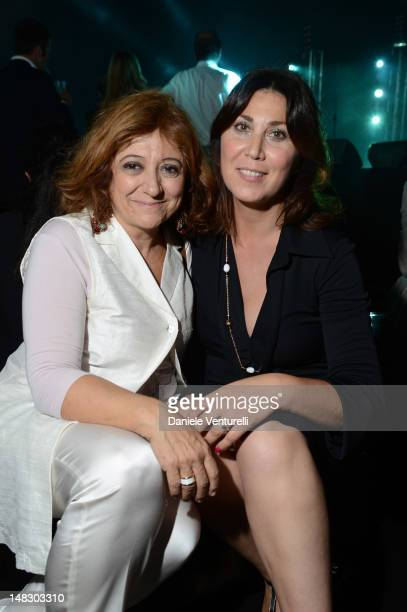 Laura delli Colli and Eleonora Pratelli attend the OCTO The New Architecture of Time by Bulgari dinner at the Stadio dei Marmi on July 13, 2012 in...
