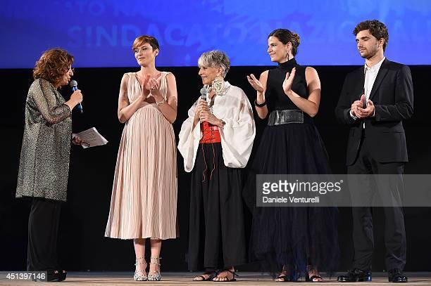 Laura Delli Colli Anna Foglietta Erminia Ferrari and guests attend the Nastri D'Argento Awards Ceremony 2014 on June 28 2014 in Taormina Italy