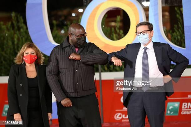 "Laura Delli Colli, Director Steve McQueen and Antonio Monda attend the red carpet of the movie ""Soul"" during the 15th Rome Film Festival on October..."