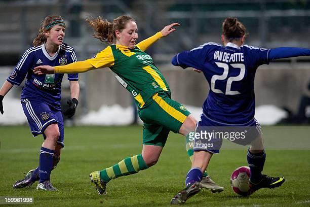 Laura Deloose of Anderlecht Michelle Vrieling of ADO Den Haag Lorca Vandeputte of Anderlecht during the women BeNe league match between ADO Den Haag...