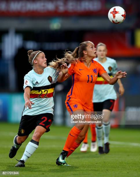Laura Deloose of Belgium and Lieke Martens of Netherlands compete for the ball during the Group A match between Belgium and Netherlands during the...