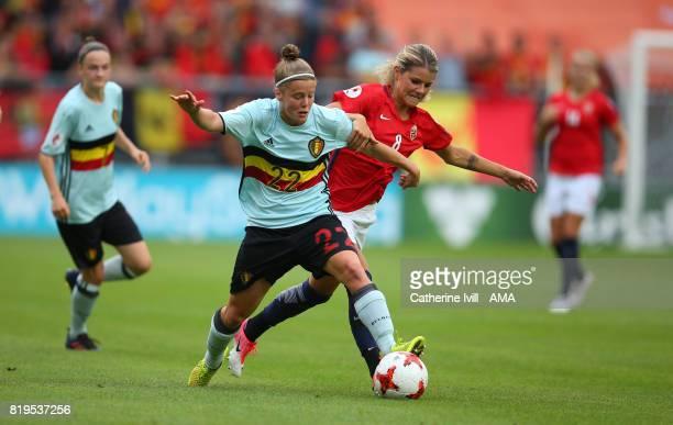 Laura Deloose of Belgium Women and Andrine Hegerberg of Norway Women in action during the UEFA Women's Euro 2017 match between Norway and Belgium at...