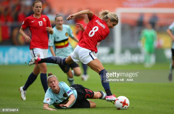 Laura Deloose of Belgium Women and Andrine Hegerberg of Norway Women during the UEFA Women's Euro 2017 match between Norway and Belgium at Rat...