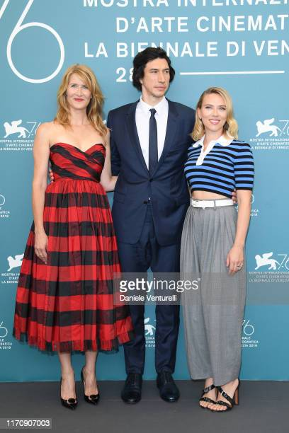 Laura Dern Adam Driver and Scarlett Johansson attend Marriage Story photocall during the 76th Venice Film Festival at Sala Grande on August 29 2019...