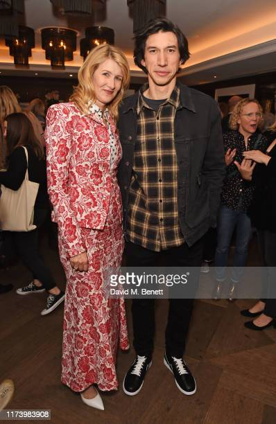 """Laura Dern and Adam Driver attend a screening of """"Marriage Story"""" hosted by NETFLIX at The May Fair Hotel on October 6, 2019 in London, England."""