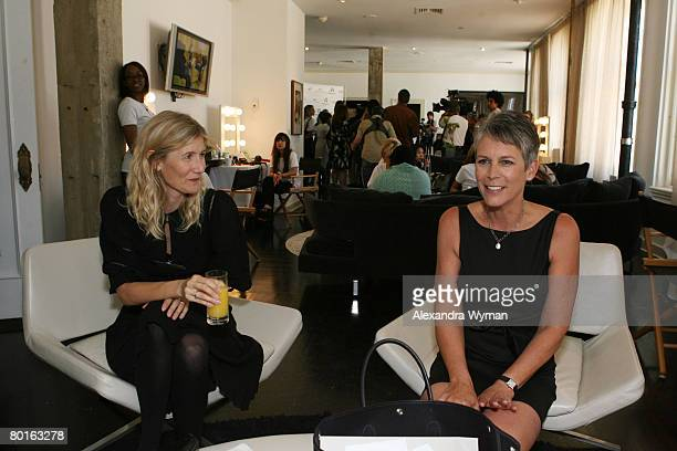Laura Dern and Jamie Lee Curtis enjoys the day at the P3 and Forbeslife executive women's day of beauty for mother's of patients of Children's...