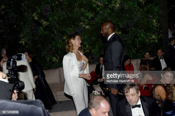 Laura Dern and Kobe Bryant attend the 2018 Vanity Fair Oscar Party hosted by Radhika Jones at Wallis Annenberg Center for the Performing Arts on...