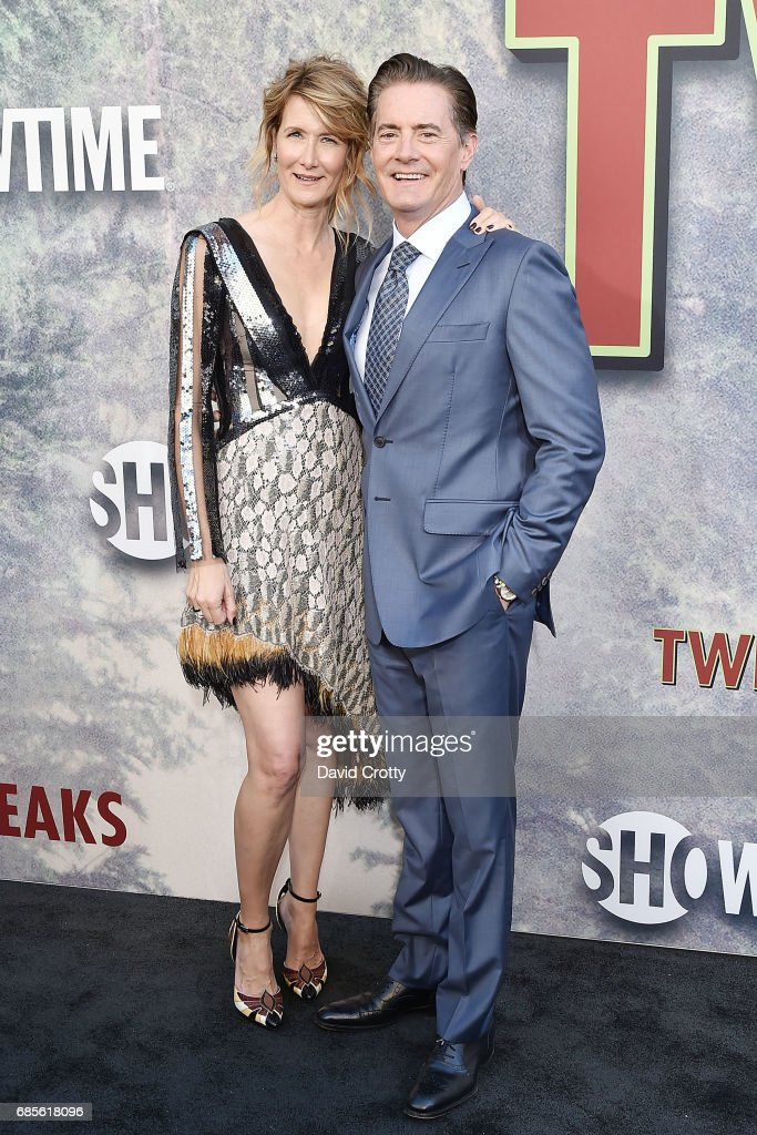 Laura Dern and Kyle MacLachlan attend the World Premiere Of Showtime's 'Twin Peaks' - Arrivals at The Theatre at Ace Hotel on May 19, 2017 in Los Angeles, California.